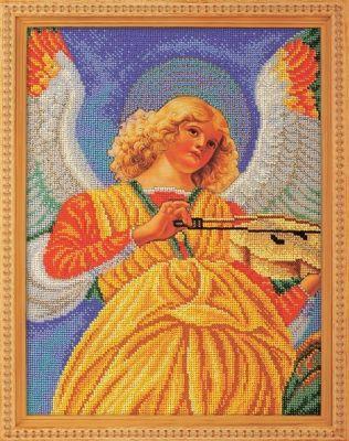 B602 Музицирующий ангел.Секондо (Кроше, Кроше) канва с рисунком для вышивания бисером hobby