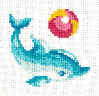 1030 Дельфинчик (Чудесная игла, Чудесная игла) набор для вышивания крестом rto котенок с подарком 10 х 10 см