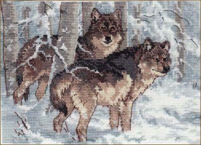 65004DMS Зимние волки (Dimensions, Dimensions) набор для вышивания крестом rto котенок с подарком 10 х 10 см