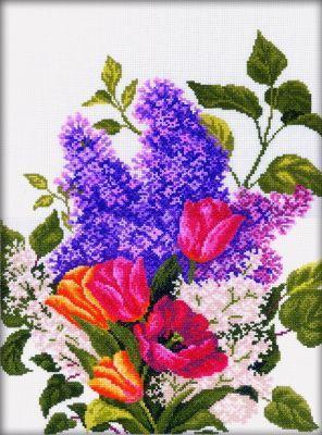 M205 Сирень и тюльпаны (РТО, РТО) m098 девушка в шляпе с розой рто рто