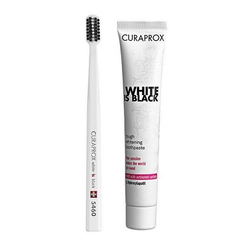 Curaprox Набор: отбеливающая зубная паста 90 мл + ультрамягкая щетка CS 5460 белая со вкусом мяты и лайма White Is Black 1 шт (Curaprox, Наборы)