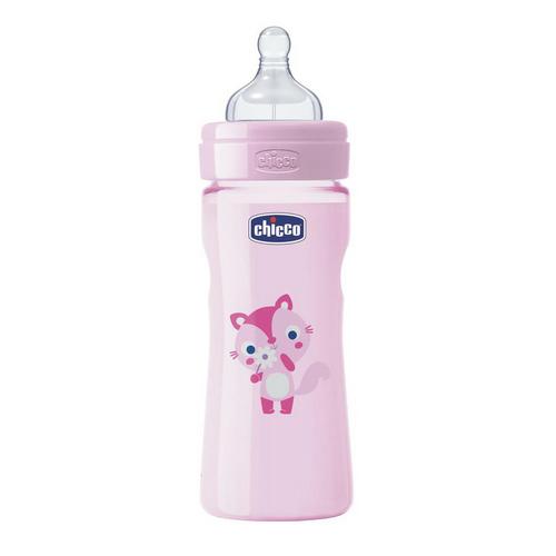 Бутылочка Girl с силиконовой соской, средний поток, 2 мес., розовая 1 шт. (Chicco, WellBeing) бутылочка girl с силиконовой соской переменный поток 2 мес розовая 1 шт chicco wellbeing