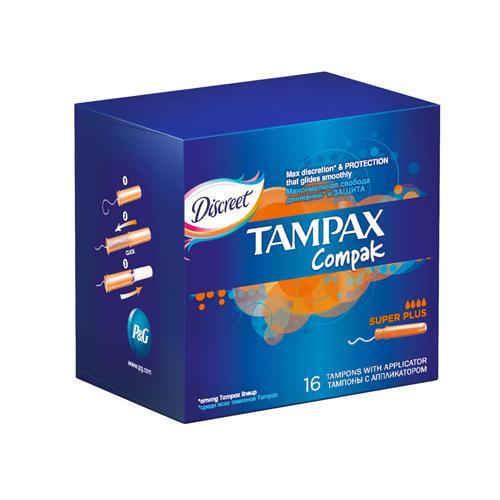 Tampax Компак Тампоны с аппликатором супер плюс по 16 шт (Compak)