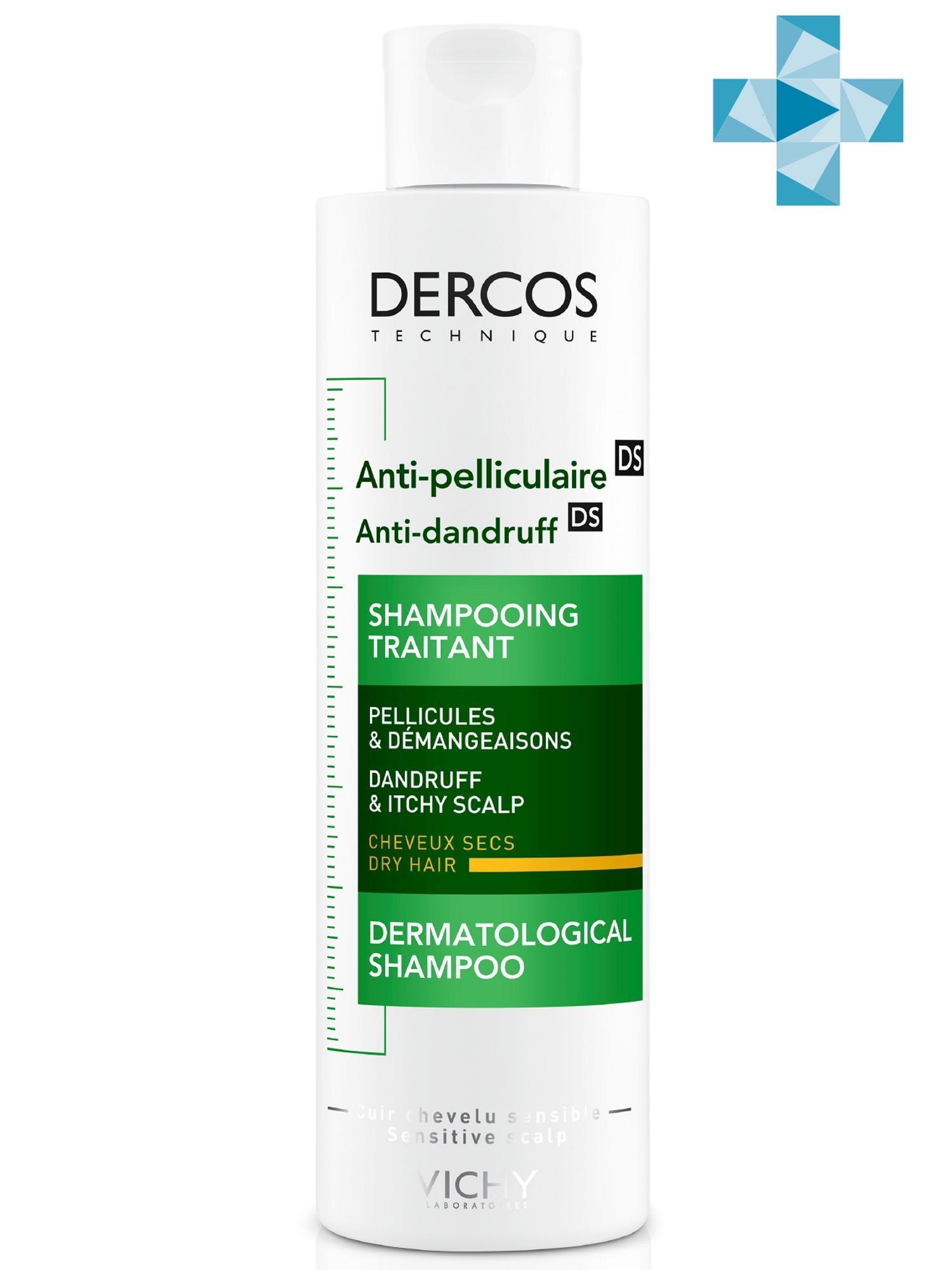 Купить Vichy Интенсивный Шампунь-уход против перхоти питательный для сухих волос, 200 мл (Vichy, Dercos), Франция