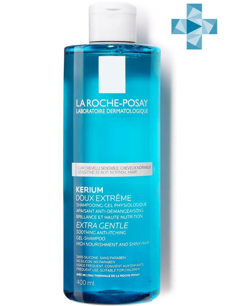 Шампунь мягкий физиологический для чувствительной кожи головы Кериум 400 мл (La RochePosay, Kerium) greenpharma pharmacalme шампунь успокаивающий для нормальных волос и чувствительной кожи головы 500 мл
