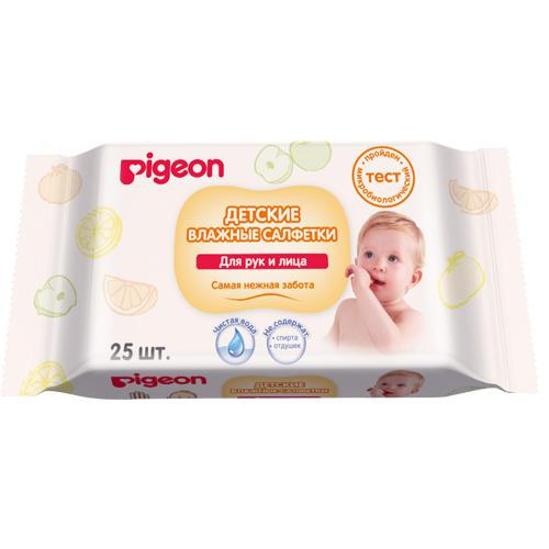 Влажные салфетки для рук и лица 25 шт (Pigeon, Уход за малышом) уход за малышом pigeon ножницы для ногтей новорожденных