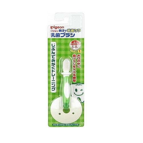 Pigeon Зубная щетка с фиксатором 6+ мес., зеленая (Уход за полостью рта)