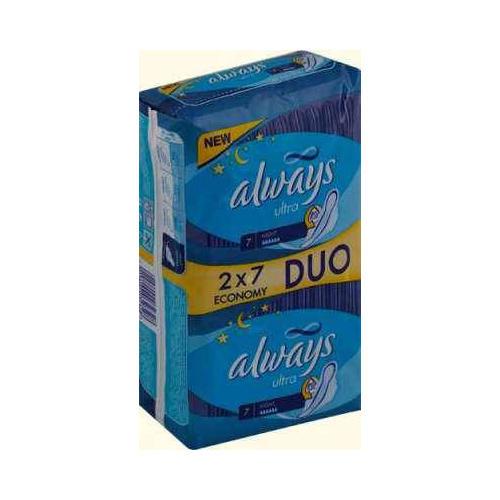 Прокладки Ультра найт дуо 14 шт (Always, Ultra) прокладки ультра супер дуо 16 шт always ultra