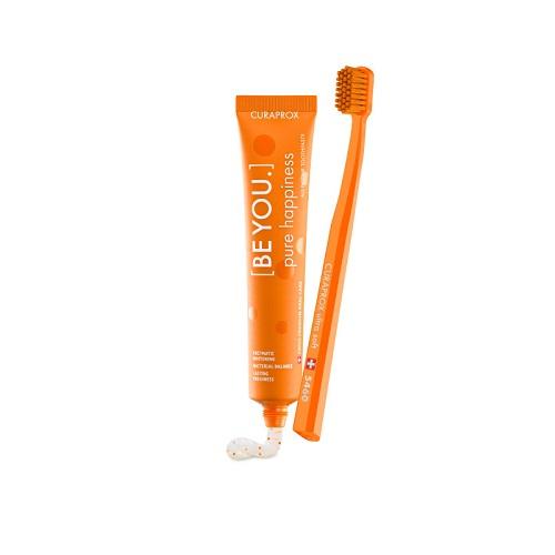 Купить Curaprox Набор зубная паста Чистое счастье со вкусом персик-абрикос 90 мл + ультрамягкая зубная щетка 1 шт (Curaprox, Наборы), Швейцария