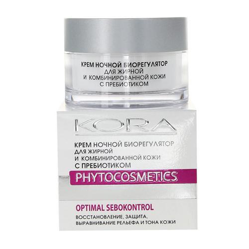 КОРА Крем ночной биорегулятор для комбинированной и жирной кожи с пребиотиком 50 мл NEW! (Для жирной кожи)