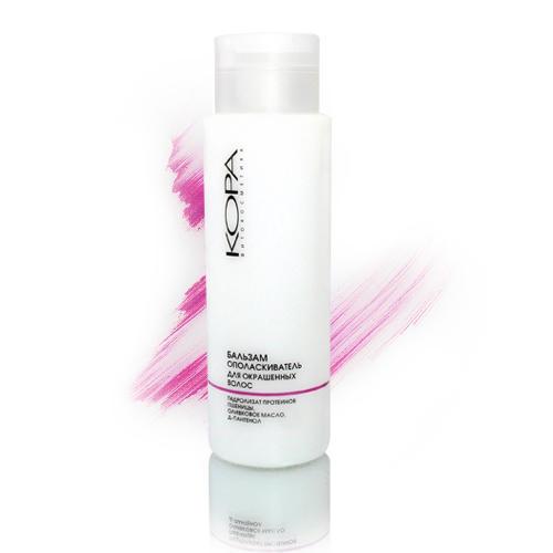 Бальзам-ополаскиватель для окрашенных волос 400 мл (Уход за волосами)Окрашивание волос<br>Бальзам-ополаскиватель бережно и эффективно ухаживает за окрашенными и тонированными волосами. Гидролизат протеинов пшеницы создает на волосах тончайшую защитную воздухопроницаемую пленку и &amp;laquo;запечатывает&amp;raquo; пигмент в стволе волоса, помогая надолго сохранить насыщенный оттенок красящего пигмента. Оливковое масло в составе бальзама является природным UV фильтром, нейтрализует негативное воздействие солнечных лучей.&amp;nbsp;<br>Бальзам интенсивно питает, восстанавливая структуру волос, увлажняет волосы и препятствует появлению секущихся кончиков. Способствует улучшению эластичности волос, защищает волосы от вредного воздействия термосредств для укладки волос и других внешних факторов.<br><br>Линейка: Уход за волосами<br>Объем мл: 400<br>Пол: Женский<br>Назначение: Блеск и яркость окрашенных волос<br>Зона применения: Уход за волосами