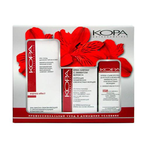 Купить КОРА Набор SPA- лифтинг уход : SPA-маска 100 мл + Крем-сыворотка 30 мл + Крем-лифтинг ботокса 50 мл (КОРА, Для зрелой кожи), Россия