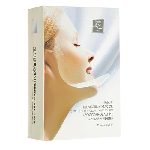Beauty Style Шелковая маска с пента-пептидом и хитозаном 10 шт х 28 гр (Шелковые маски)