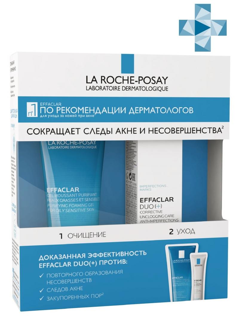 La Roche-Posay Эфаклар мини-набор: Корректирующий крем-гель Дуо+, 15 мл + Очищающий пенящийся гель 50 мл (La Roche-Posay, Effaclar)