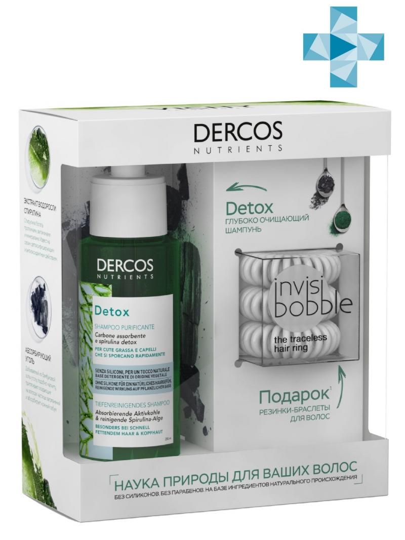 Набор Detox Глубоко очищающий шампунь Dercos Nutrients 100 мл Резинкабраслет для волос Invisibobble 3 шт (Vichy, Dercos Nutrients) dercos technique от vichy