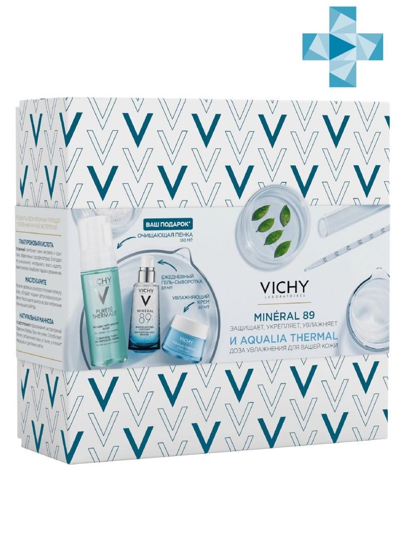 Vichy Набор Гель-сыворотка для кожи Mineral 89, 50 мл + Аквалия Термаль Легкий крем для нормальной кожи 50 мл (Vichy, Mineral 89)