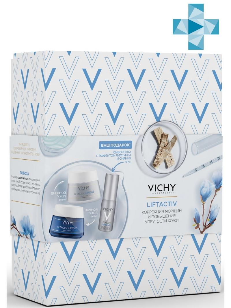 Набор LiftActiv Supreme Крем для нормальной и комбинированной кожи 50 мл Ночной кремуход 50 мл (Vichy, LiftActiv) vichy liftactiv eyes