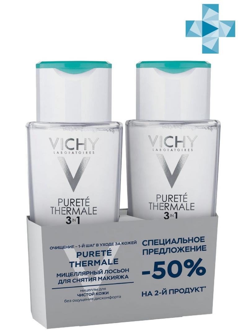 Vichy Дуопак: Мицеллярный лосьон для снятия макияжа с лица и глаз Пюрте Термаль 200 мл х 2 шт (Vichy, Purete Thermal)
