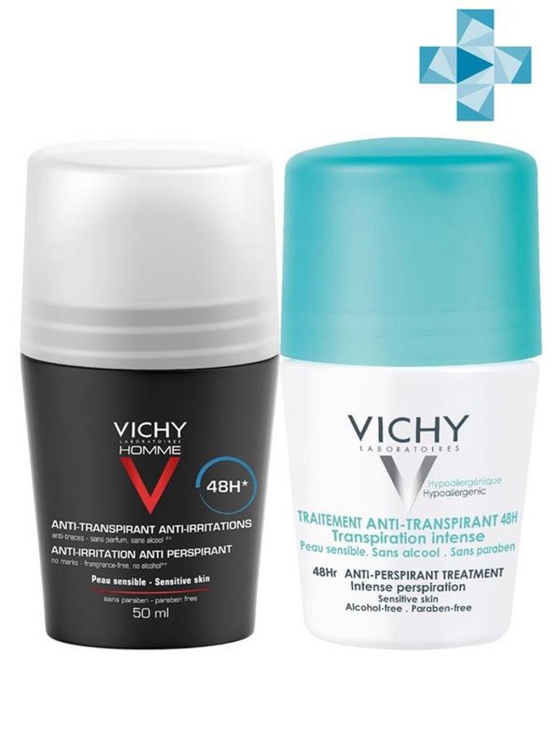 Vichy Набор: Мужской дезодорант 48 ч, 50 мл + Дезодорант- шарик, регулирующий избыточное потоотделение 48 ч, 50 мл (Vichy, Deodorant) vichy комплект дезодорант антистресс 72 часа защиты 2 шт х 50 мл vichy deodorant