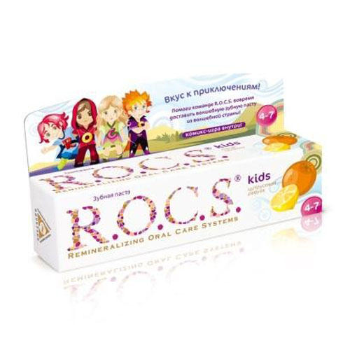 Зубная паста Рокс для детей Цитрусовая радуга 45гр (Kids 3-7 years) (R.O.C.S)