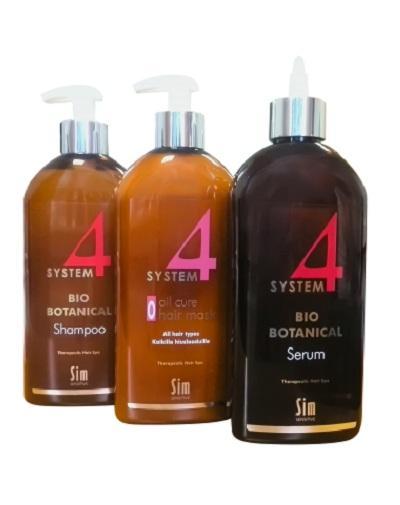 Лечебный комплекс от выпадения волос шампунь 500 мл, маска 500 мл, сыворотка 500 мл (Sim Sensitive, System4) маска можжевельник от выпадения волос 100 мл miko для волос
