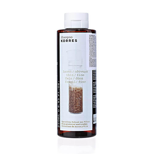 Шампунь для тонких ломких волос с протеинами риса и липой, 250 мл (Korres, Korres Уход за волосами) korres шампунь для тонких ломких волос с протеинами риса и липой 250 мл