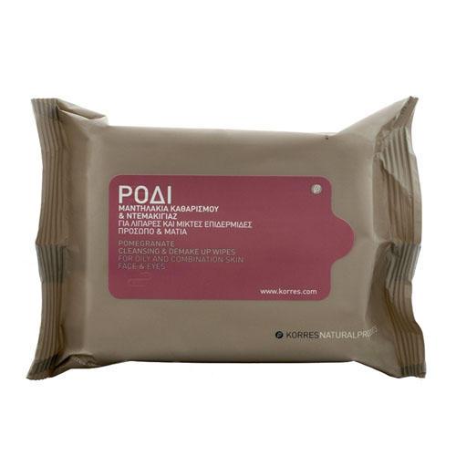 Салфетки для снятия макияжа с гранатом для жирной и комбинированной кожи уп.25 шт (Korres Ежедневное Очищение)