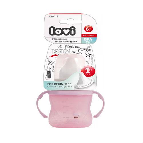Lovi Поильник обучающий, 150 мл, 6м+, Retro, розовый (Lovi, Детская посуда)