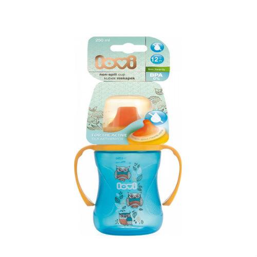 Lovi Поильник-непроливайка Lovi, 250 мл Folky бирюзовый (Lovi, Детская посуда)