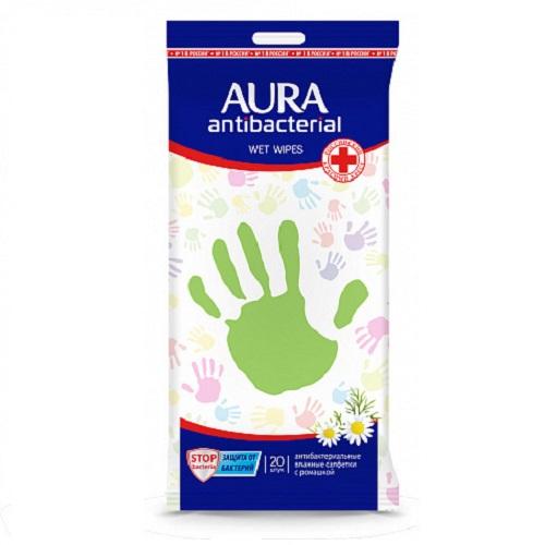 Aura Влажные салфетки антибактериальные Derma Protect с ромашкой 20 шт (Aura, Влажные салфетки) фото