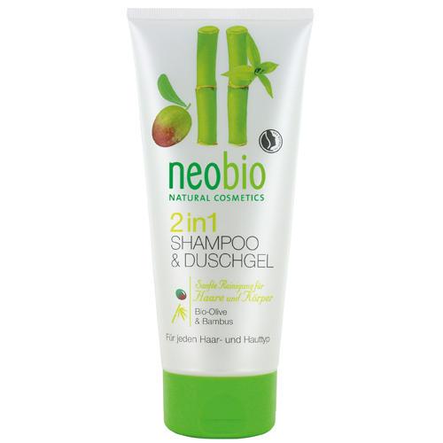 Neobio Шампунь-гель 2 в 1 c био-оливой и бамбуком 200 мл (Для волос)