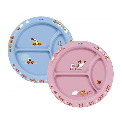Тарелка с разделителями для порций, 12 м, голубая или розовая (Avent, Детская посуда)