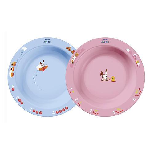 Глубокая тарелка большая, голубая или розовая от 12 месяцев (Детская посуда)