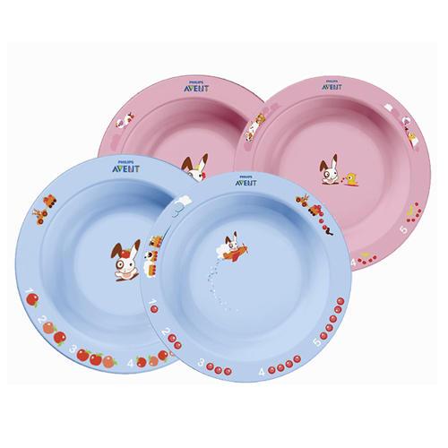 Набор из 2 тарелок разного размера от 6 месяцев, голубая или розовая (Детская посуда) (Avent)
