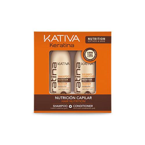Kativa Набор Укрепляющий шампунь и кондиционер с кератином для всех типов волос  2х100 мл (Keratina)