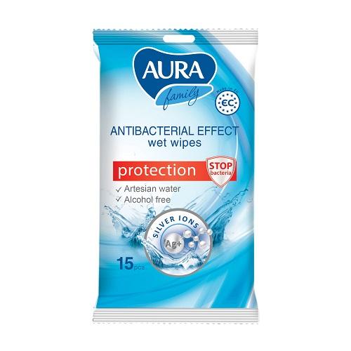 Aura Влажные салфетки c антибактериальным эффектом 15 шт (Aura, Влажные салфетки) фото