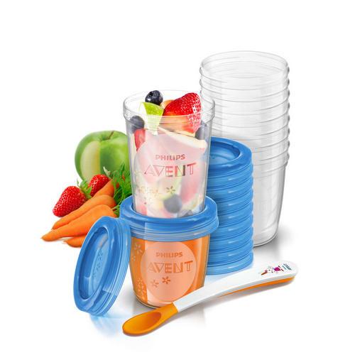 Контейнеры с крышками для хранения питания (10х180 мл, 10х240 мл) (Avent, Детская посуда) контейнеры с крышками для хранения питания 10х180 мл avent детская посуда