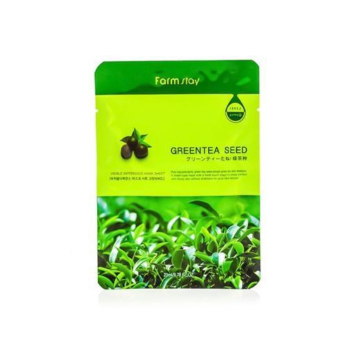 Тканевая маска с натуральным экстрактом семян зеленого чая, 23 мл (Farmstay, Farmstay) маска д лица подтягивающая с коллагеном и экстрактом зеленого чая тканевая основ1шт 23мл 24шт sl 211