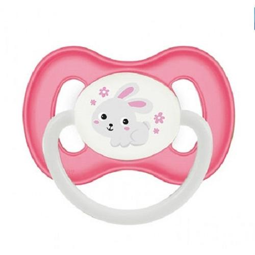 Купить Canpol Пустышка симметричная силиконовая 0-6 месяцев розовая 1 шт (Canpol, Bunny & company), Польша