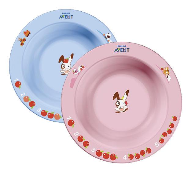 Avent Глубокая тарелка 230 мл, 6 м+, голубая или розовая (Детская посуда)
