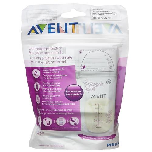 Пакеты для хранения молока, 180 мл, 25 шт (Avent, Детская посуда)