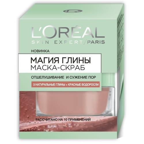 заказать L'Oreal Маска для лица Магия глины Интенсивное отшелушивание и сужение пор 50мл (Магия глины)