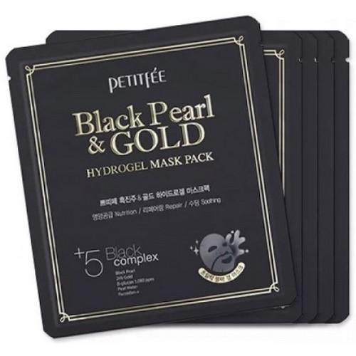 Petitfee Маска для лица гидрогелевая с черным жемчугом и золотом, 32 г (Petitfee, Hydrogel Mask Pack) гидрогелевая маска золото и экстракт улитки