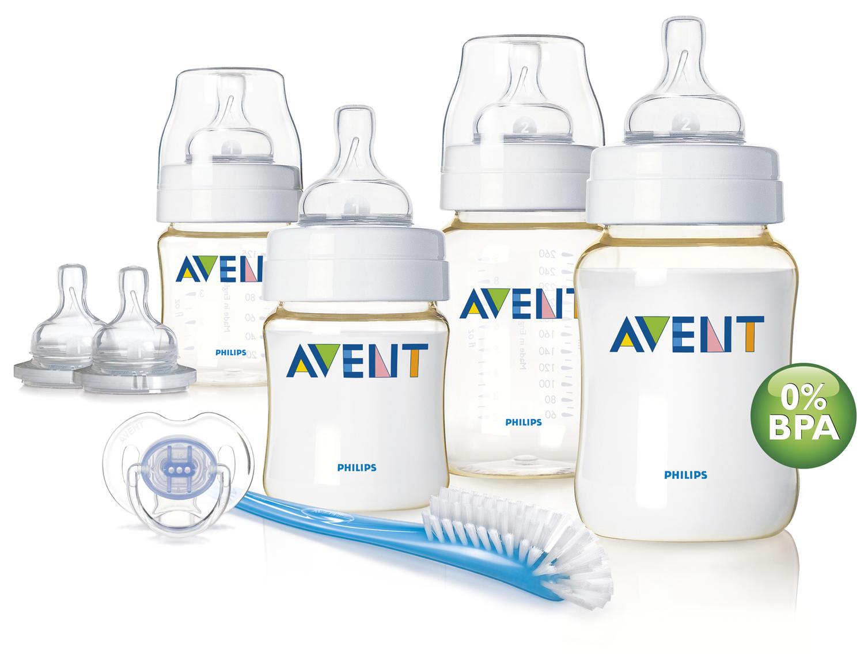 бутылочки Набор для новорожденного Износостойкие бутылочки Avent Philips (2х125мл, 2х260мл), Пустышка для нов (Avent, Бутылочки для кормления Премиум)