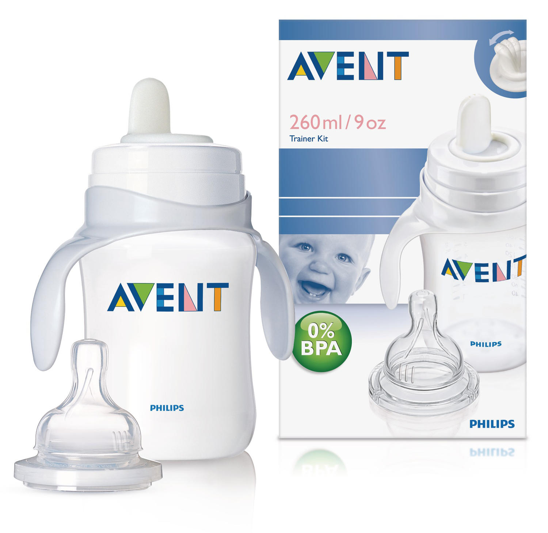 Набор тренировочный (от 3 месяцев) Бутылочка 260 мл  соской переменный поток Мягкий питьевой но (Avent, Бутылочки для кормления Стандарт)