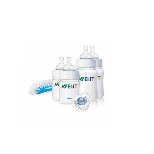 Набор бутылочек для новорожденных 06мес. (2x125 мл., 2x260 пустышка, щеточка) (Avent, Детская посуда)