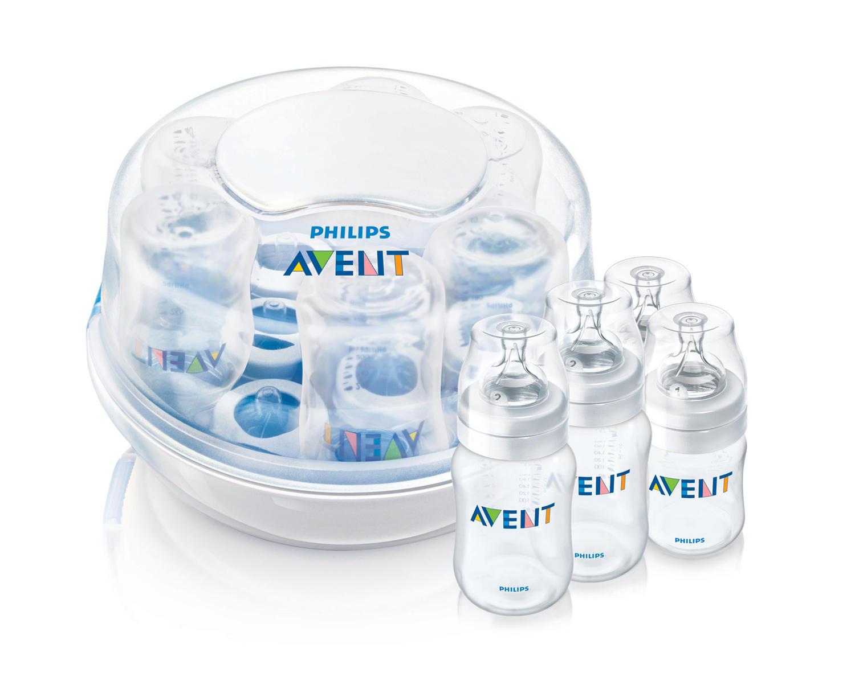 Набор для новорождённого с стерилизатором для СВЧ (Avent, Стерилизаторы) стерилизатор бутылочек для свчпечей scf28102 avent стерилизаторы