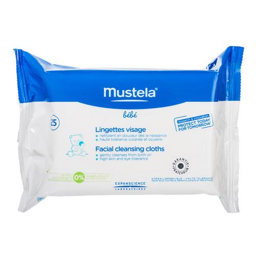 Салфетки очищающие для лица, 25 (Mustela, Bebe ежедневная гигиена) салфетки mustela мустела бебе салфетки для лица очищающие детские 25 шт 25 штук