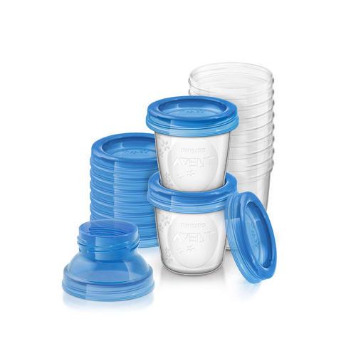 Контейнеры с крышками для хранения питания(10х180 мл) (Avent, Детская посуда)