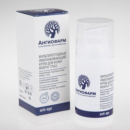 Мультипептидный омолаживающий крем для кожи вокруг глаз 30 мл (Ангиофарм, Омоложение) средства для снятия отеков под глазами